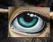 Big Eyed ACEO Print, Eye Study 2 Limited Edition Canvas 01/01, By Alexandria Sandlin