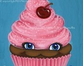 Cupcake Art Print, Cute Kawaii Fantasy Pink Cherry, Happy Chocolate Cupcake 8X10, By Alexandria Sandlin