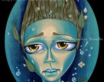 Gothic Art Print, Big Eyed Lowbrow Ghost Fairytale, Drowned Girl 8X10, By Alexandria Sandlin