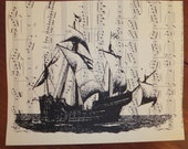 Vintage Sheet Music with silhouette print SHIP design