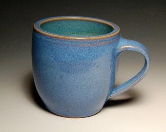 One Large Mug - Blue and Teal Pottery