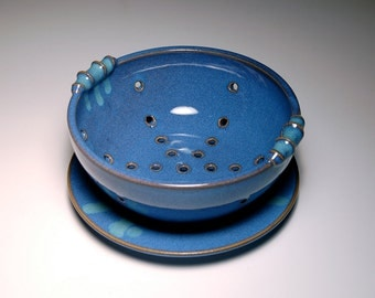 Large Berry Bowl and Saucer - Blue and Teal Pottery