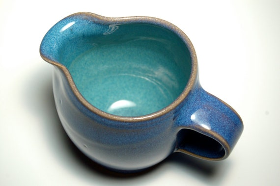 Hold for Tammy - Creamer and Sugar Jar - Blue and Teal Pottery
