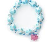 Blue Polka Dot Piggy Bracelet