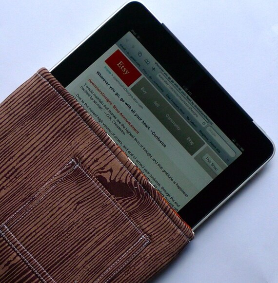 The myPadPouch - A Padded Sleeve in Chocolate Brown Woodgrain - Ready to Ship