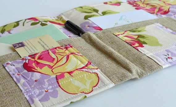LAST ONE- Organizer Clutch, Passports, Letters, Coupons and more - In Touch Clutch (tm) in Roses and Hydrangeas