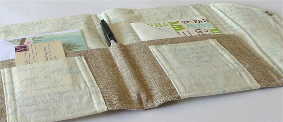 Organizer for Coupons, Stationery, Letters, Passports, Moleskine- In Touch Clutch (tm) in Pale Blue Vintage Script Letters
