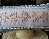 Whimsical Embroidered Orange Suns  25 X 14 White Pom Poms