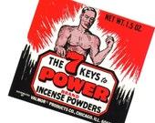 7 KEYS TO POWER Vintage 1960s Incense Label