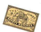 1910s Antique JUMBO ELEPHANT Brand Match Label