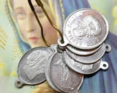 8pcs Antique 20s Tiny French SEVEN SORROWS MEDALS Mary Seven Dolors
