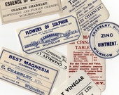 5pcs 1910s-1940s Vintage UK PHARMACY LABELS Wilmslow England