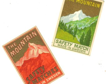 1900s Vintage THE MOUNTAINS Match Labels Gilded Set of 2