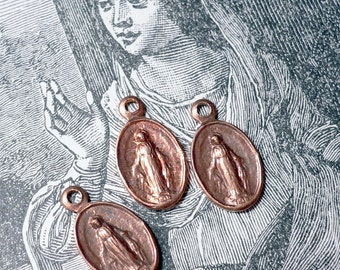 3pcs Vintage 40s TINY MARY MEDALS Miraculous Copper