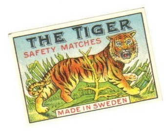 Antique 20s Tiny THE TIGER Matchbox Label