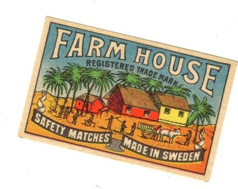 1910s Antique FARM HOUSE BRAND Match Label