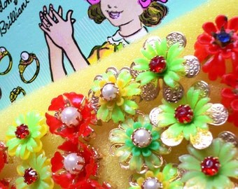 10pcs 1960s DREAMY DIMESTORE RINGS Vintage Jeweled Assortment Hong Kong
