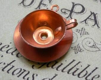 3pcs 50s Vintage COPPER TEA CUP Charms Tiny