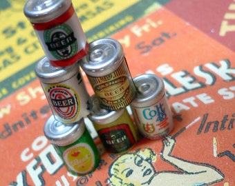 TINY BEER CANS 6pcs Vintage Brand Charms