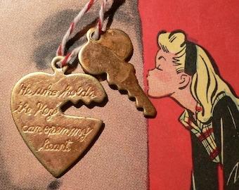 KEY TO HEART Vintage 1950s Coppery Brass