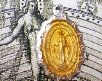 Vintage 60s ENAMEL MIRACULOUS MEDAL Virgin Mary Starburst Edge