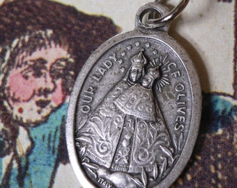 Vintage Our LADY OF OLIVES Sacred Heart Religious Medal Italy