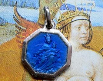 ENAMEL SCAPULAR MEDAL Vintage Religious French
