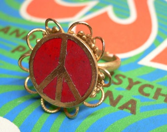 PEACE SIGN RING 1960s Vintage Enamel Adjustable Amazing