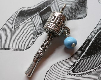 Tiny TIBETAN PRAYER WHEEL Charm Blue