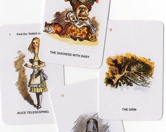 4pcs 70s Vintage Tiny ALICE IN WONDERLAND Fantastic Cards