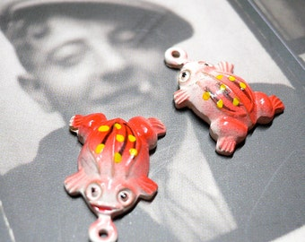 2pcs TINY FROG CHARMS 1960s Vintage Hand Painted Pink