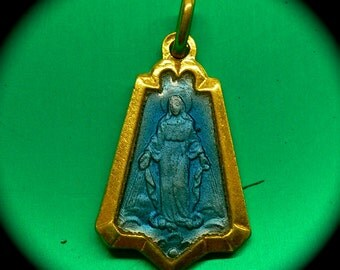 MIRACULOUS MARY MEDAL 50s Vintage Enamel France