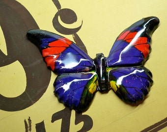 ENORMOUS TIN BUTTERFLY 60s Vintage Gorgeous Litho Made in Japan