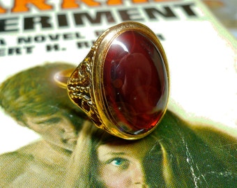 Vintage GOTHIC RING Adjustable Deep Ruby Glass