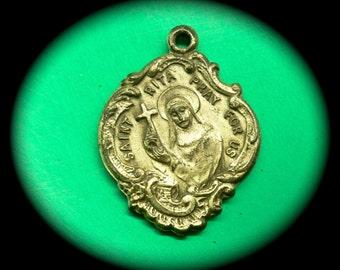 SAINT RITA MEDAL Tiny Vintage Religious Baroque