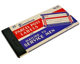 1bk DENNISON MILITARY LABELS 25pcs Vintage 1960s Service Men Mail