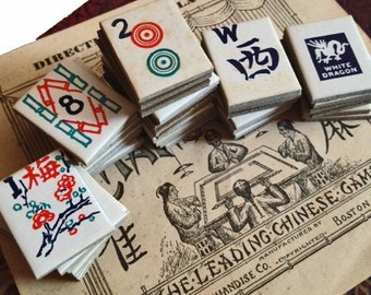 4pcs MAH JONG TILES Antique 1920s Cardboard