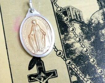BLUSH ENAMEL MARY 1960s Vintage Religious Medal