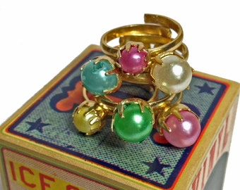 10pcs VINTAGE PEARL RINGS 1960s Faux Variety