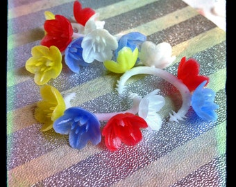 4pcs TINY DOLL HEADBANDs 60s Vintage Kitschy Flowers