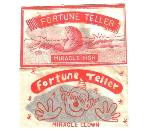 2pcs 1940s fortune telling clown and fish by for Fortune teller fish