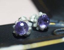 Choice of rough raw Diamond Stud purple Amethyst sterling silver stud post earrings