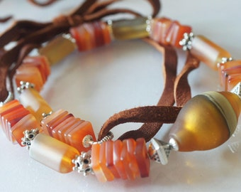 SALE  Raw Attraction frosted Carnelian Necklace