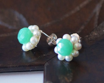 Green gemstone pearl earrings mint Chrysoprase freshwater pearl sterling silver stud post earrings