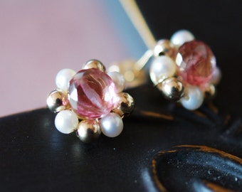Mystic Pink Topaz Freshwater cream Pearl 14kt Gold fill wirewrapped stud Earrings