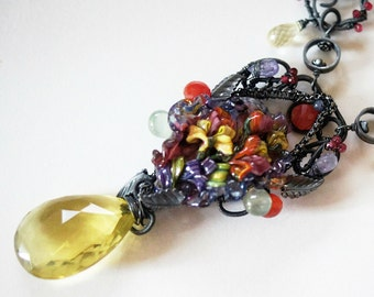 Artisan SRA Lampwork focal Yellow Lemon Quarz Prehnite Carneliane Tanzanite Red Spinel blacken Sterling Silver Neclace