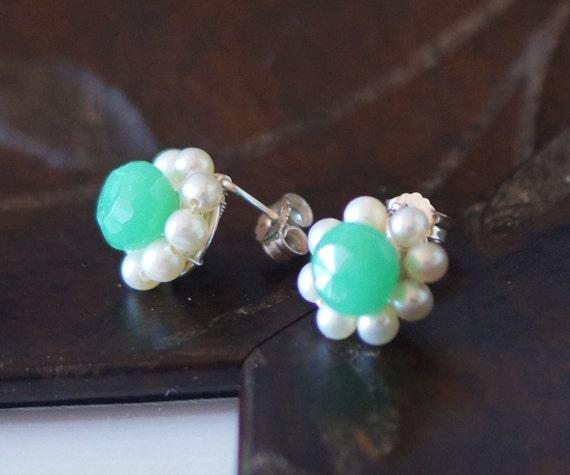 Green gemstone pearl earrings mint Chrysoprase freshwater pearl sterling silver stud post earrings