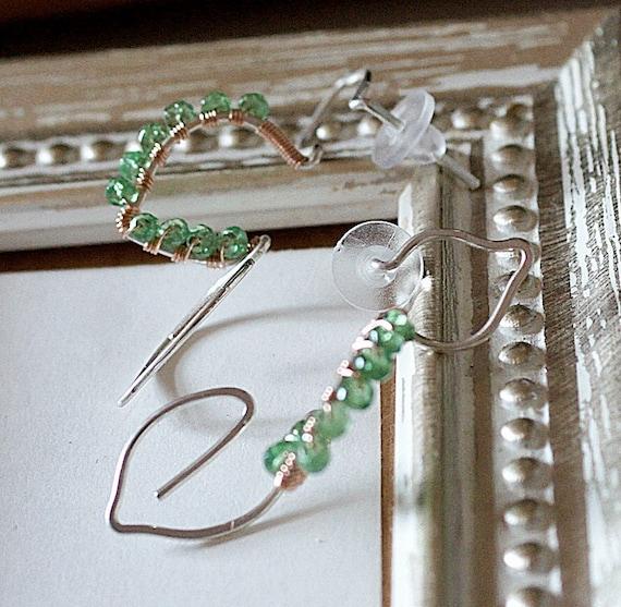 SALE Leaves Green Tsavorite Garnet Sterling Silveer 14kt Rose Pink Gold fill silhouette Stud Post Earrings