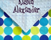 Baby Blanket Personalized for Boys or Girls Minky and Disco Dots