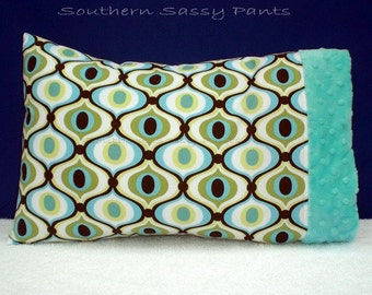 Toddler Pillow Case, Baby Pillowcase ONLY - Spa Feeling Groovy and Minky Dot - ON SALE, In Stock and Ready To Ship